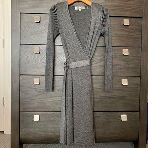 DVF silver/gray knit wrap dress